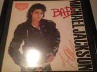 SIGNED MICHAEL JACKSON BAD ALBUM COVER