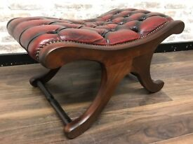 Oxblood Leather Chesterfield Slipper Footstool