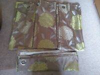 2x sets of brown and green floral pattern curtains (eyelet)