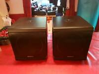 Pair of Denon Axis 12S Subs Subwoofers with Hot Covers