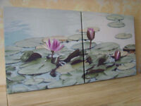 Two matching Lotus Flower Canvas Prints - FREE DELIVERY