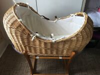Mothercare 'The Snug' Moses basket and rocking stand for sale