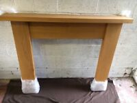 Straight solid oak fire surround for sale. Like new.