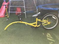 AMMACO TAGALONG FOLDING YELLOW Age 5-9 years TRAILER HALF BIKE TOWALONG TANDEM