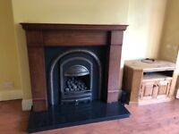 Complete Fireplace incl. marble hearth and solid wood surround