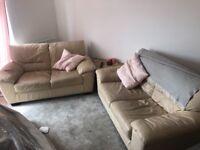 2 X leather cream 2 seater sofa