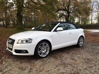 AUDI A3 CABRIOLET S LINE 2010 - WHITE 1.8T - LOW MILEAGE, HEATED SEATS.