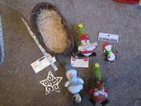 5 Christmas hanging decorations and wicker sleigh