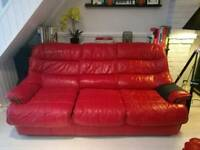 3 seater red leather sofa + matching footstool