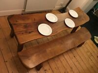 Beautiful solid oak dinning table, great character, includes matching bench