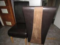 2 X Brown leather high back dinning room chairs, Nearly new condition