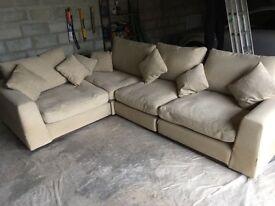 Large 4 piece Corner sofa, oatmeal colour, £250 Ono