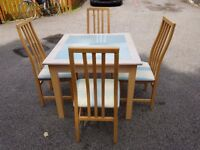 Solid Wood & White Glass Dining Table 90cm & 4 Tapley Chairs FREE DELIVERY 231