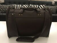 Brown lfaux leather pet carrier bag