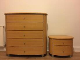 Wooden Chest of Drawers & Side-table