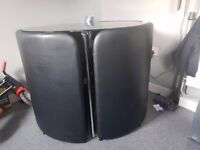 Black storage table with Leather chairs