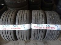 MATCHING set 255 50 19 pirelli scorpions 7MM TREAD £180 set of 4 SUPP & FITD (loads more av}