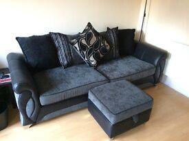 DFS 4 Man Sofa black and grey