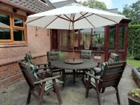 HARDWOOD, WELL LOOKED AFTER 6-SEATER TABLE, CHAIRS, LAZYSUSAN ,PARASOL AND PERFECTLY CLEAN CUSHIONS.