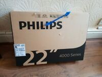 BRAND NEW BOXED Philips 22PFT4022/05 22 Inch Full HD TV,BUILT IN FREEVIEW HD. NO BASE STAND