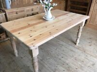 4 - 6 seater table rustic country farmhouse solid stripped pine table only