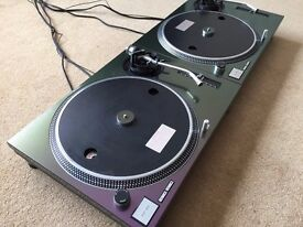 "2 X Technics SL-1210 MK2 Turntables With Custom ""Technics"" Chameleon Covers"