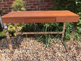 Dwell console table, medium dark venere, chrome legs
