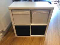 White Ikea storage unit with 4 box drawers