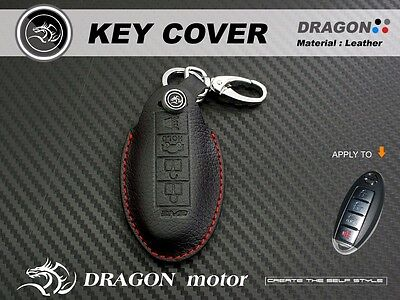Leather Key fob Holder Case Chain Cover FIT For Infiniti FX45 FX50 hybird M45 M3