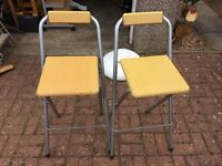 Folding breakfast bar stools x2
