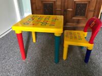 Childs alphabet table and chair set