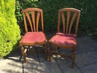 Art Deco 1930 Dining chairs PAIR sunburst solid oak