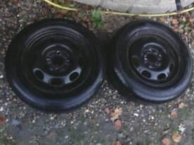 2 vw polo wheels + tyres , 13 inch / 4 stud ( seat skoda )