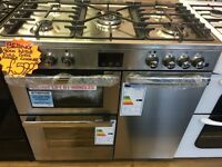 BELLING 90CM BRAND NEW ALL GAS RANGE STYLE COOKER IN SHINY SILIVER