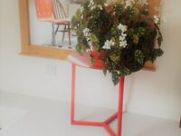 Stylish red glass side table, compact, practical and easy to clean, excellent condition