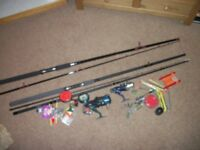 Fishing rods and reels x 2 and accessories