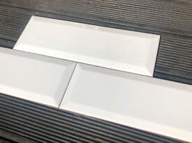 100 NEW gloss white bevelled Metro tiles (underground, brick) 300x100mm (30c10cm) ceramic