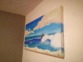 Large Hand Painted Surf Canvas Painting