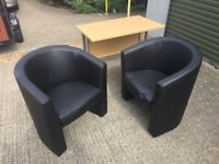 2 Matching -Black faux leather tub chairs for reception area or office visitors chairs