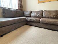 Corner large leather sofa