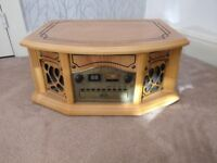 TAP827 Wooden Retro Turntable Record Player CD Cassette AM/FM Radio Tuner Vinyl