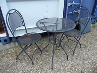 Patio set - metal small round table and 2 folding chairs