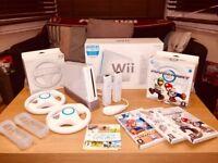 Nintendo Wii Bundle - Games - Mario Kart Pack - Steering Wheels - Sports Pack