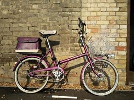 VGC Raleigh shopper bike purple with pannier ladies basket 1975 vintage 3 gears 20''