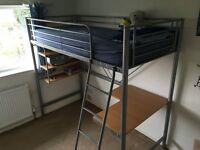 metal single high sleeper bed frame silver