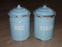 Pair of enamel finish containers