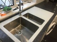 White Glass Kitchen Sink