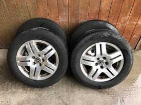 """15"""" volkswagen 5x100 alloy wheels & tyres vw,golf,audi,seat,leon,toledo"""
