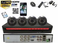 4 full HD Outdoor Cameras 4Ch AHD CCTV System 1TB Complete Kit Plug&Play P2Psystem