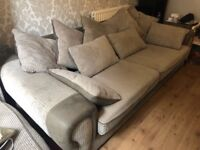 Large sofa, upcycled table and shabby chic vintage Chair. Solid and good furniture